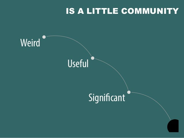 @portentint Significant Useful Weird IS A LITTLE COMMUNITY