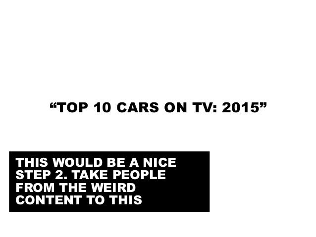 """@portentint """"TOP 10 CARS ON TV: 2015"""" THIS WOULD BE A NICE STEP 2. TAKE PEOPLE FROM THE WEIRD CONTENT TO THIS"""