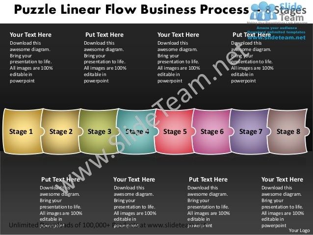 Puzzle Linear Flow Business Process – 8 StagesYour Text Here                        Put Text Here                         ...