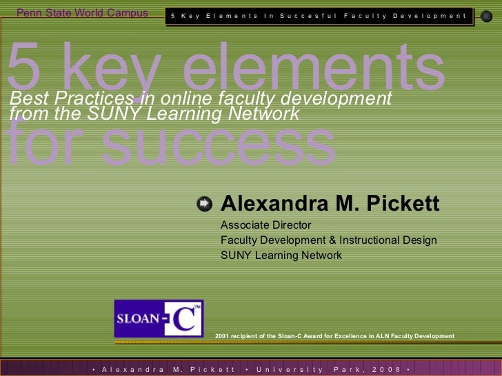 2001 recipient of the Sloan-C Award for Excellence in ALN Faculty Development 5 key elements  for success   Best Practices...