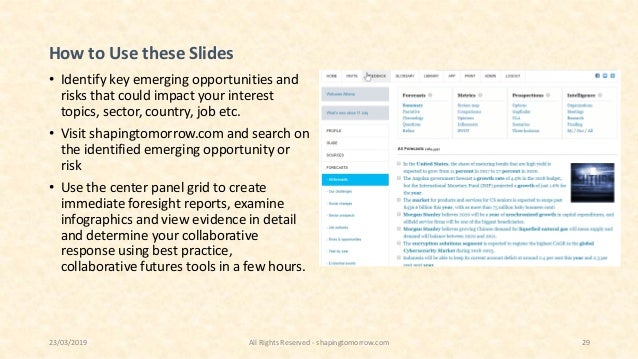 How to Use these Slides • Identify key emerging opportunities and risks that could impact your interest topics, sector, co...