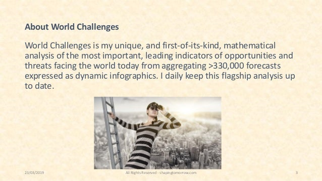 About World Challenges World Challenges is my unique, and first-of-its-kind, mathematical analysis of the most important, ...