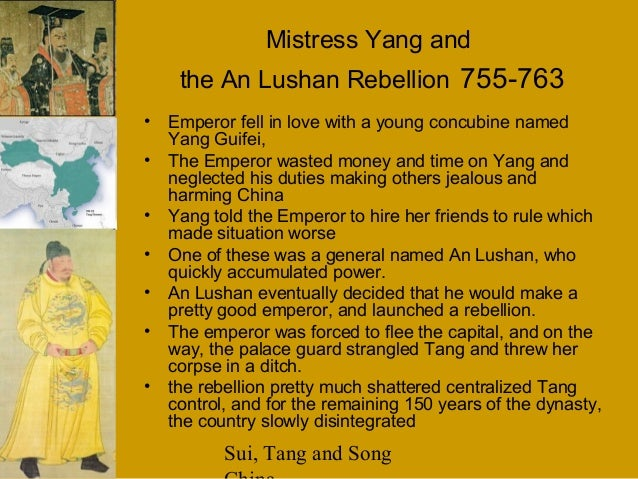 the an lu shan rebellion from Took place in china during tang dynasty from 755 to 763, while the emperor neglected public affairs in favor of music and his mistress, an lushan, one of the dynasty's foremost military commanders, mounted a rebellion and captured the capital at chang'an as well as the secondary capital at luoyang, the revolt was short lived and by 757 tang forces had suppressed army and taken back capitals.