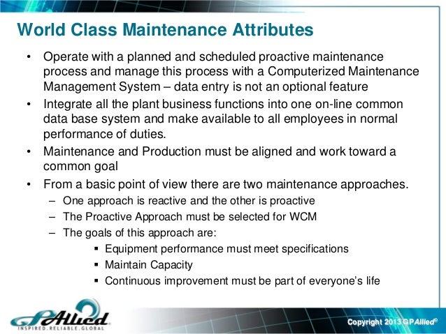 World Class Maintenance Webex Slides