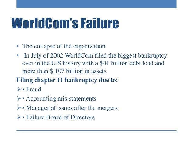enron and worldcom scandal summary March 2nd, 2003 worldcom introduction based out of mississippi, worldcom was put together by founder bernard ebbers growing rapidly through mergers and acquisitions mr ebbers pulled off.