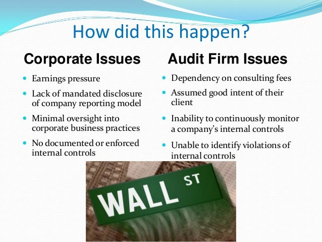 how did the enron company violate accounting standards The collapse of the enron corporation in late 2001 led to two broad concerns:   the revelation of gross accounting violations by these and other firms and the   has already led to the increased regulation of accounting and auditing authorized  by the  it broke the accounting rules, although it apparently broke some rules to.