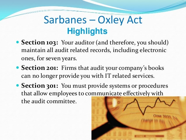 sarbanes oxley act sox