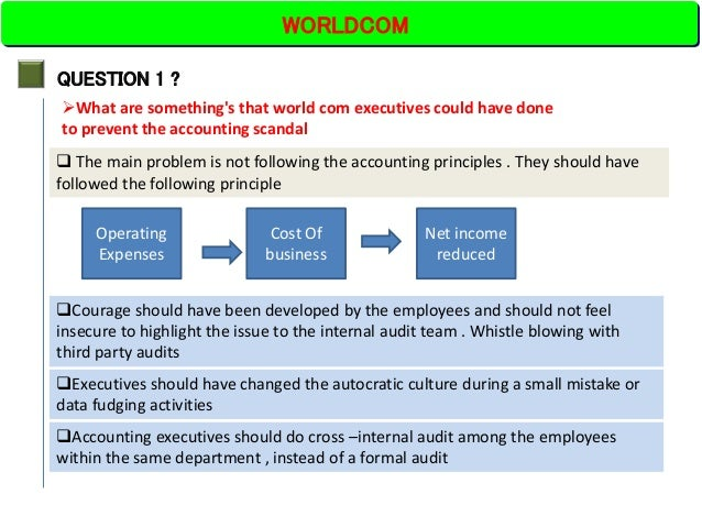 worldcom accounting analysis Worldcom, plagued by the rapid erosion of its profits and an accounting scandal that created billions in illusory earnings, last night submitted the largest bankruptcy filing in united states history.