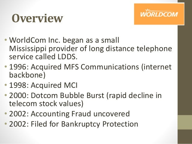worldcom case Case study on worldcom worldcom accounting fraud 16-nov-10 siva sivani institute of management submitted by satyajit banik (b3-40) which constituted 20% of its global workforce.