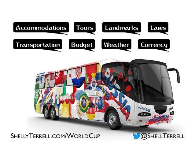 @SHELLTERRELLSHELLYTERRELL.COM/WORLDCUP Accommodations Tours Landmarks Weather Laws Transportation CurrencyBudget