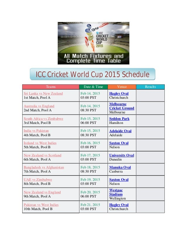 World Cup Cricket 2015 Schedule Pdf Download