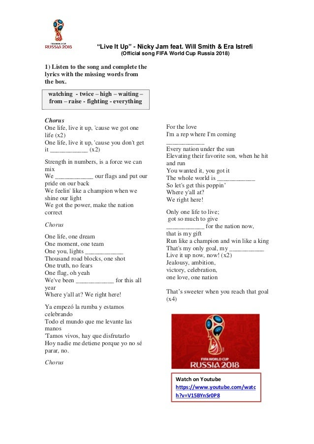 Lyrics Of Official Song Of Fifa World Cup 2018 Live It Up FIFA World