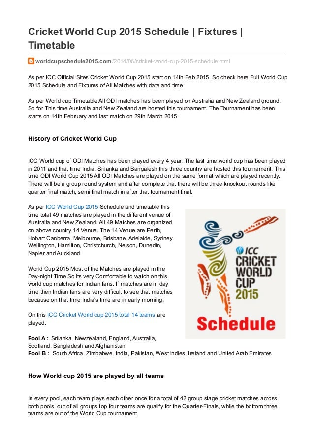 Bangladesh schedule time cup icc pdf world 2015