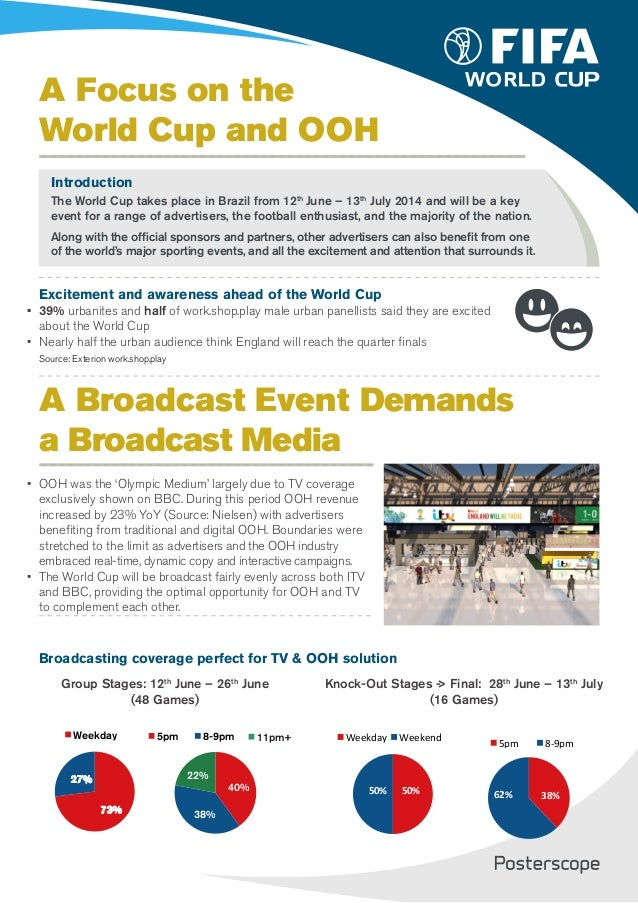 A Focus on the World Cup and OOH Introduction The World Cup takes place in Brazil from 12th June – 13th July 2014 and will...