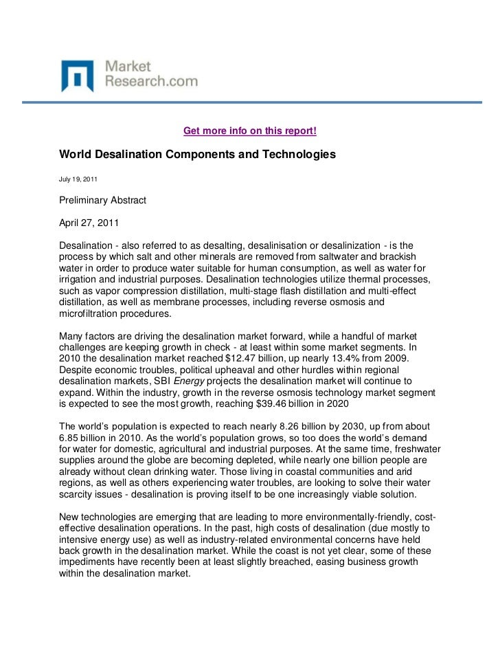 Get more info on this report!World Desalination Components and TechnologiesJuly 19, 2011Preliminary AbstractApril 27, 2011...