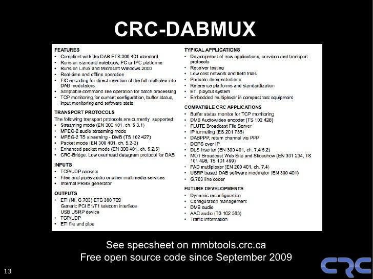 CRC-DABMOD       Software Defined Radio DAB Modulator  USRP: Ettus research