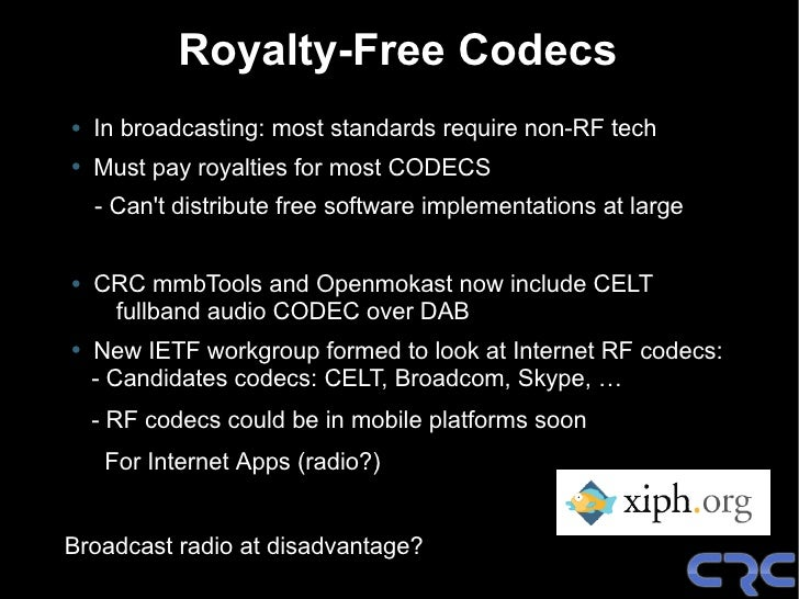 What Next ? • Maintain mmbTools and Openmokast • HE-AACv2 real-time software encoders (sorry, can't be free!) • Live CD:  ...