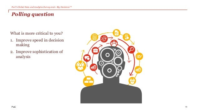PwC's Global Data and Analytics Survey 2016: Big Decisions™ Polling question What is more critical to you? 1. Improve spee...