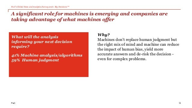 PwC's Global Data and Analytics Survey 2016: Big Decisions™ PwC A significant role for machines is emerging and companies ...