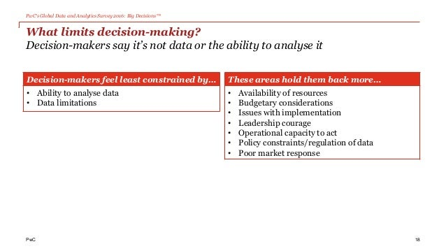 PwC's Global Data and Analytics Survey 2016: Big Decisions™ PwC What limits decision-making? Decision-makers say it's not ...