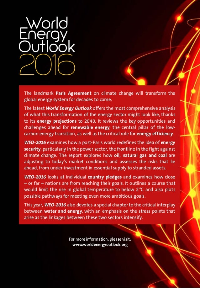 26 Ideas For The Delimitation: World Energy Outlook 2016