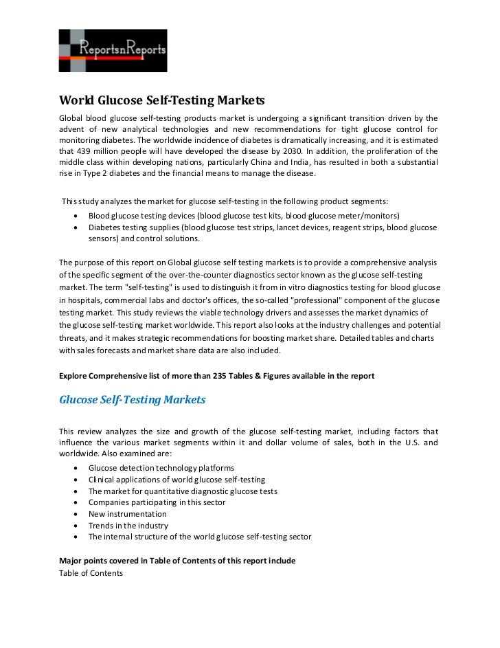 World Glucose Self-Testing MarketsGlobal blood glucose self-testing products market is undergoing a significant transition...