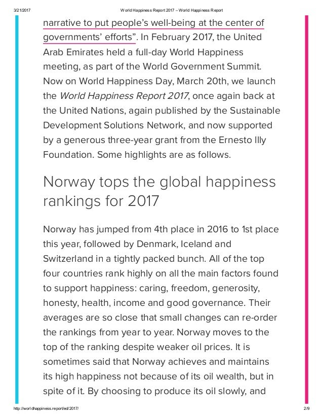 summary of the world happiness report The insider summary: the world happiness report ranked countries based on  six factors the us fell from third place in 2007 to 19th in.