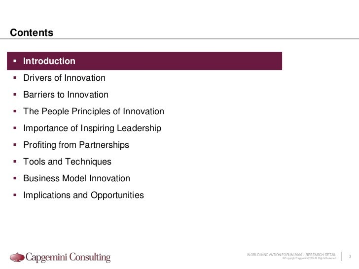 Contents<br />Introduction<br />Drivers of Innovation<br />Barriers to Innovation<br />The People Principles of Innovation...