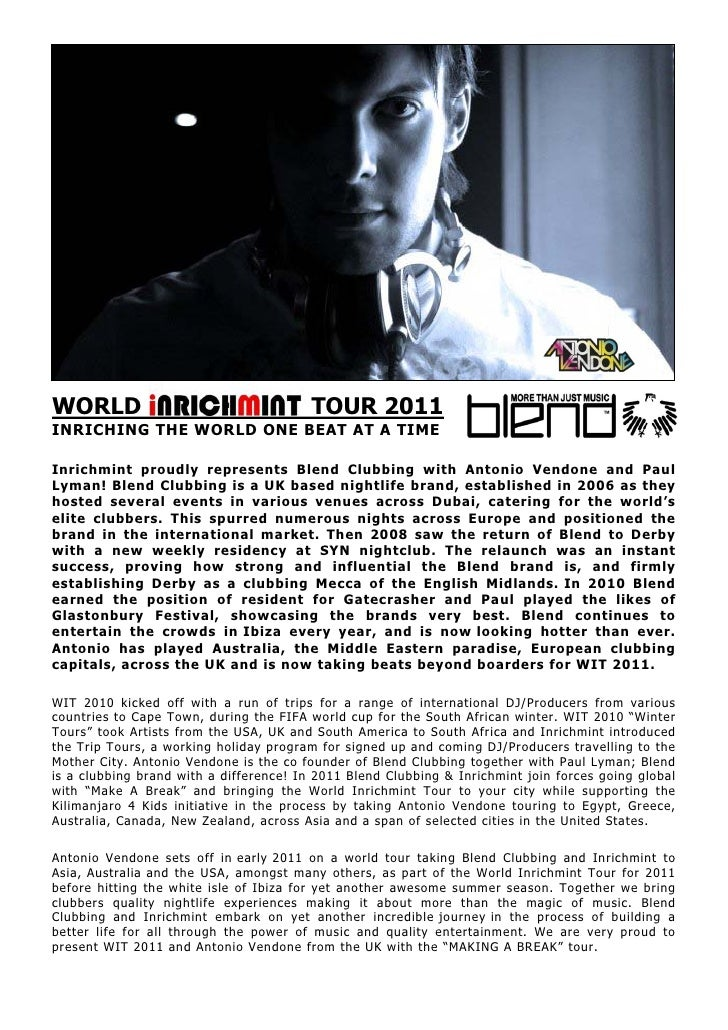 WORLD                                    TOUR 2011INRICHING THE WORLD ONE BEAT AT A TIMEInrichmint proudly represents Blen...
