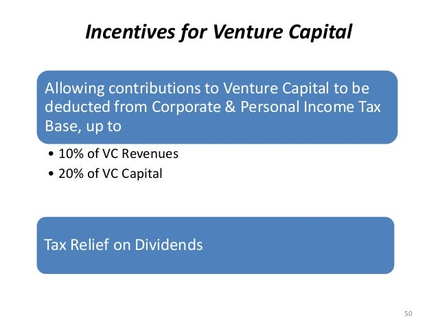 Incentives for Venture Capital Allowing contributions to Venture Capital to be deducted from Corporate & Personal Income T...