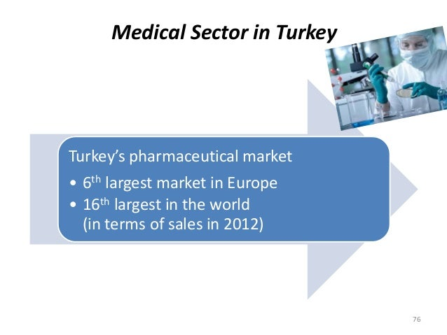 Medical Sector in Turkey 76 Turkey's pharmaceutical market • 6th largest market in Europe • 16th largest in the world (in ...