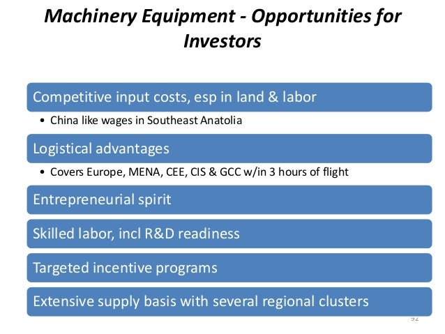 Machinery Equipment - Opportunities for Investors 92 Competitive input costs, esp in land & labor • China like wages in So...