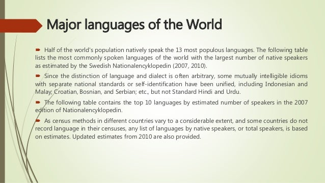 Presentation On World Language Regions - World top language list