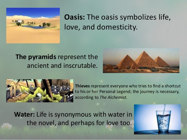 Oasis: The oasis symbolizes life, love, and domesticity. The pyramids represent the ancient and inscrutable. Thieves repre...