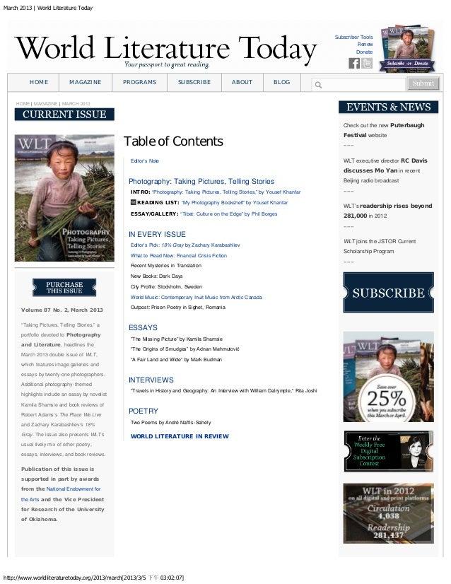 March 2013 | World Literature Today http://www.worldliteraturetoday.org/2013/march[2013/3/5 下午 03:02:07] Subscriber Tools ...