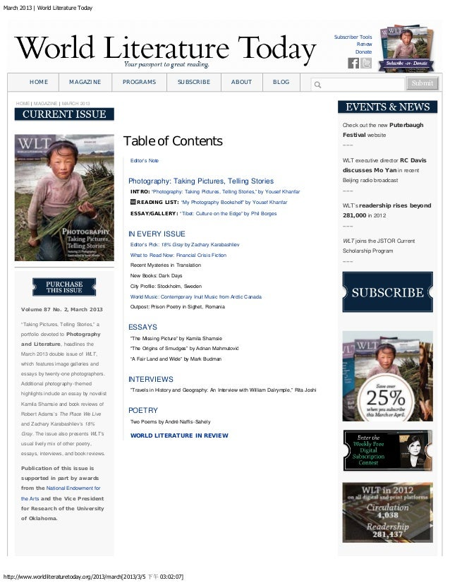 March 2013 | World Literature Today http://www.worldliteraturetoday.org/2013/march[2013/3/5 下午 03:02:07] Subscriber Tools ...
