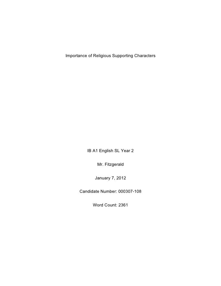 Importance of Religious Supporting Characters          IB A1 English SL Year 2               Mr. Fitzgerald              J...