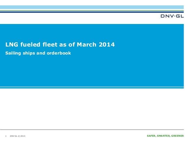 DNV GL © 2013 SAFER, SMARTER, GREENERDNV GL © 2013 LNG fueled fleet as of March 2014 1 Sailing ships and orderbook