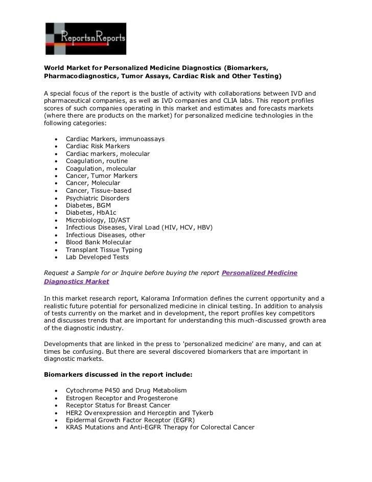 World Market for Personalized Medicine Diagnostics (Biomarkers,Pharmacodiagnostics, Tumor Assays, Cardiac Risk and Other T...