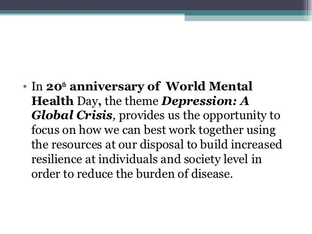 34 O In 20th Anniversary Of World Mental Health Day The Theme