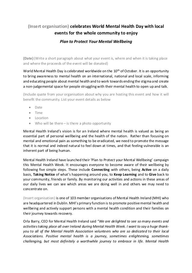 World mental health week press release template for Album press release template