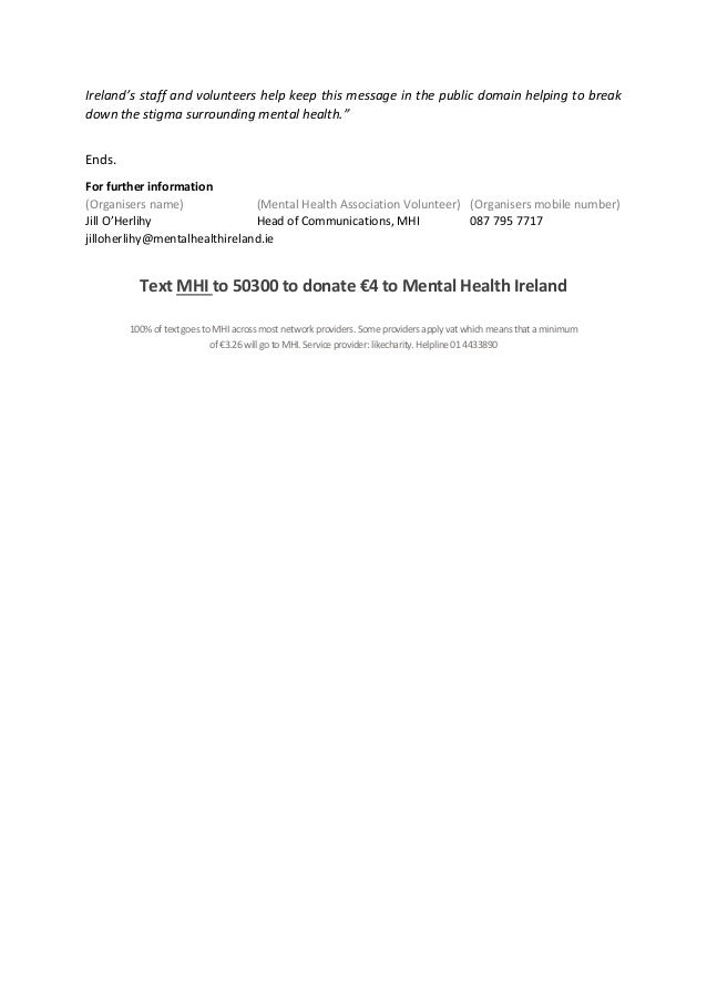 Release Of Information Form Template Mental Health World Mental Health Week  Press Release Template