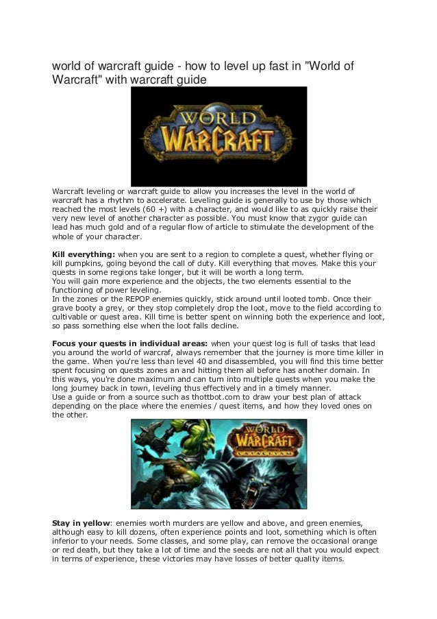 """world of warcraft guide - how to level up fast in """"World ofWarcraft"""" with warcraft guideWarcraft leveling or warcraft guid..."""