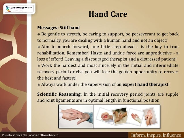 Hand Care Messages: Stiff hand ⎈ Be gentle to stretch, be caring to support, be perseverant to get back to normalcy, you a...