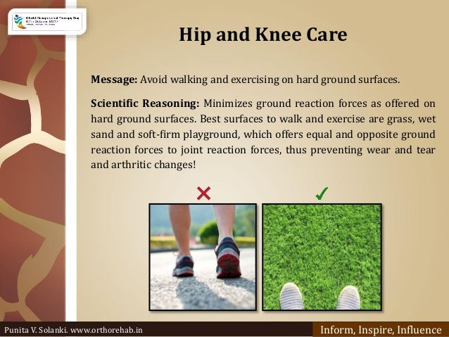 Hip and Knee Care Message: Avoid walking and exercising on hard ground surfaces. Scientific Reasoning: Minimizes ground re...