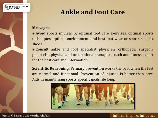 Ankle and Foot Care Messages: ⎈ Avoid sports injuries by optimal foot care exercises, optimal sports techniques, optimal e...