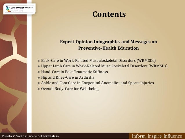 Contents Expert-Opinion Infographics and Messages on Preventive-Health Education ⎈ Back-Care in Work-Related Musculoskelet...