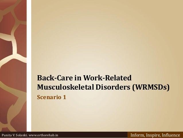 Back-Care in Work-Related Musculoskeletal Disorders (WRMSDs) Scenario 1 Punita V. Solanki. www.orthorehab.in Inform, Inspi...