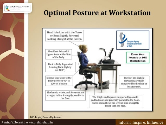 Optimal Posture at Workstation Inform, Inspire, Influence DSE: Display Screen Equipment Punita V. Solanki. www.orthorehab....