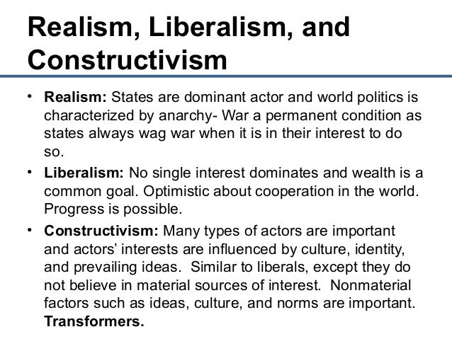 an analysis of the concepts of realism and liberalism Liberalism, considered as the road less traveled, is becoming more and more appealing in international relations like realism, its fundamental themes are rooted in.